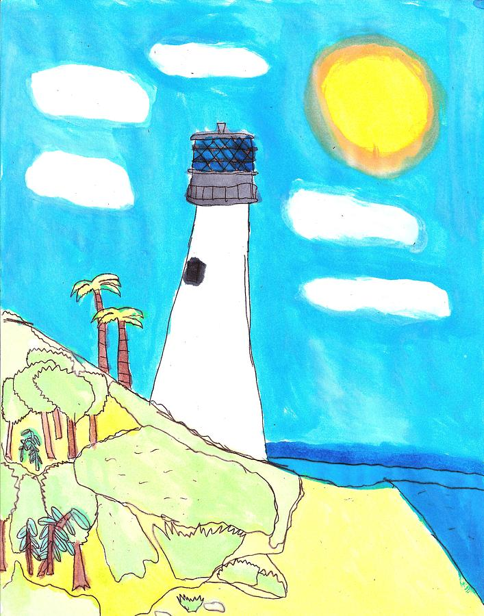 Lighthouse Painting - Southern Lighthouse by Artists With Autism Inc