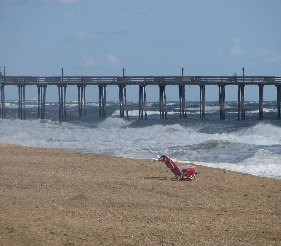 Ocean Photograph - Southern Shores Pier And Chair by Cathy Lindsey