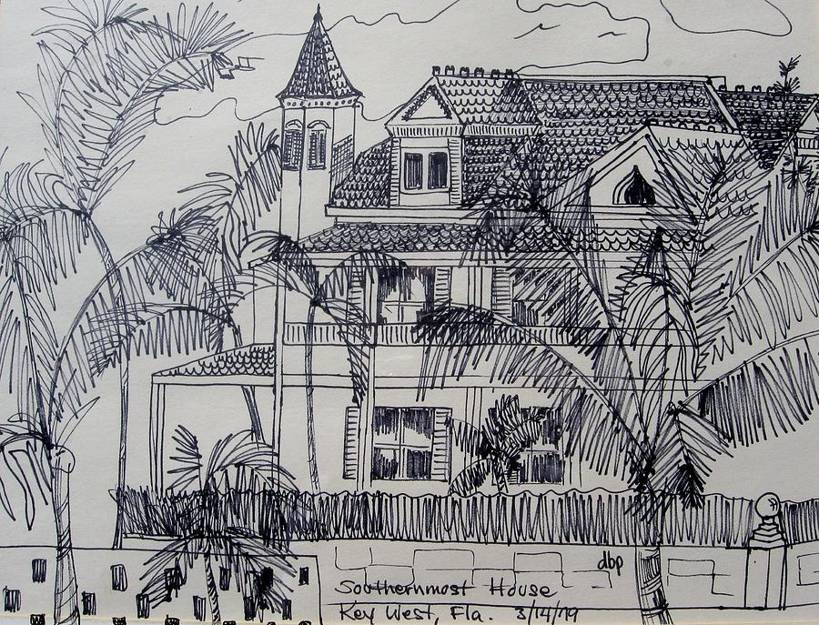 Southernmost house mixed media southernmost house key west florida by diane pape