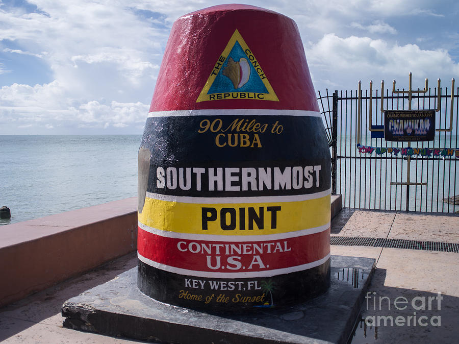 Atlantic Ocean Photograph - Southernmost Point Marker by Tracy Knauer