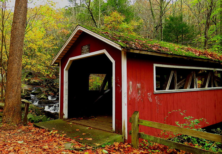 Connecticut Photograph - Southford Falls Covered Bridge And Waterfall by Stephen Melcher