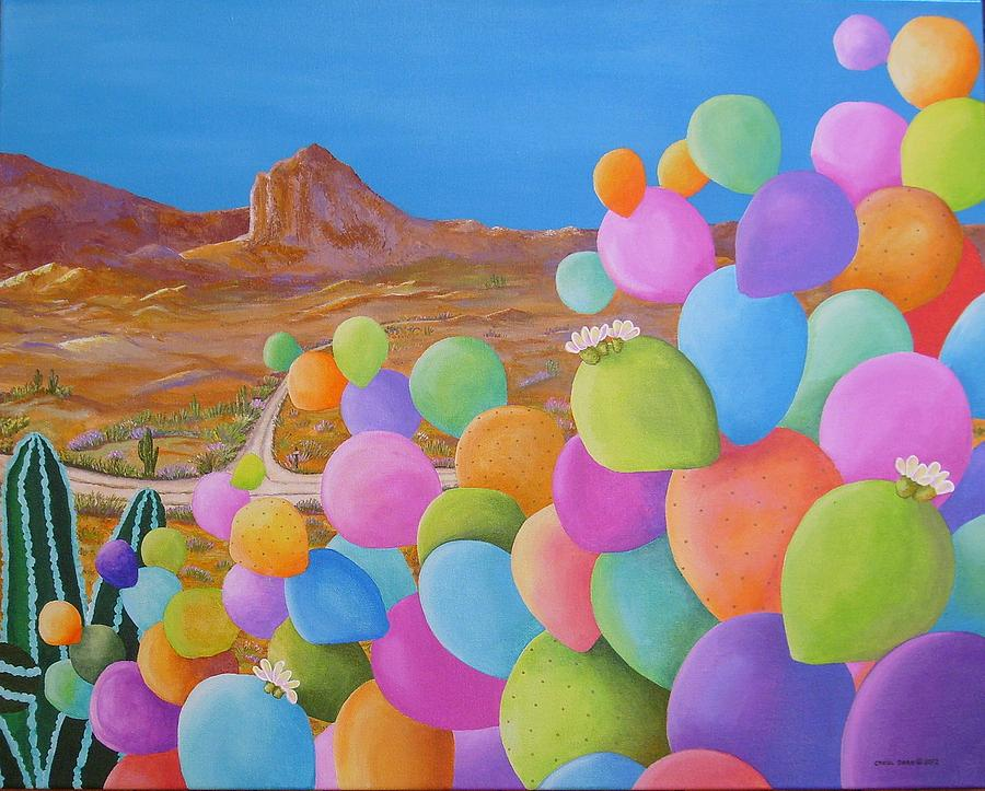 Acrylic Painting - Southwests Summer Fiesta Right Canvas by Carol Sabo