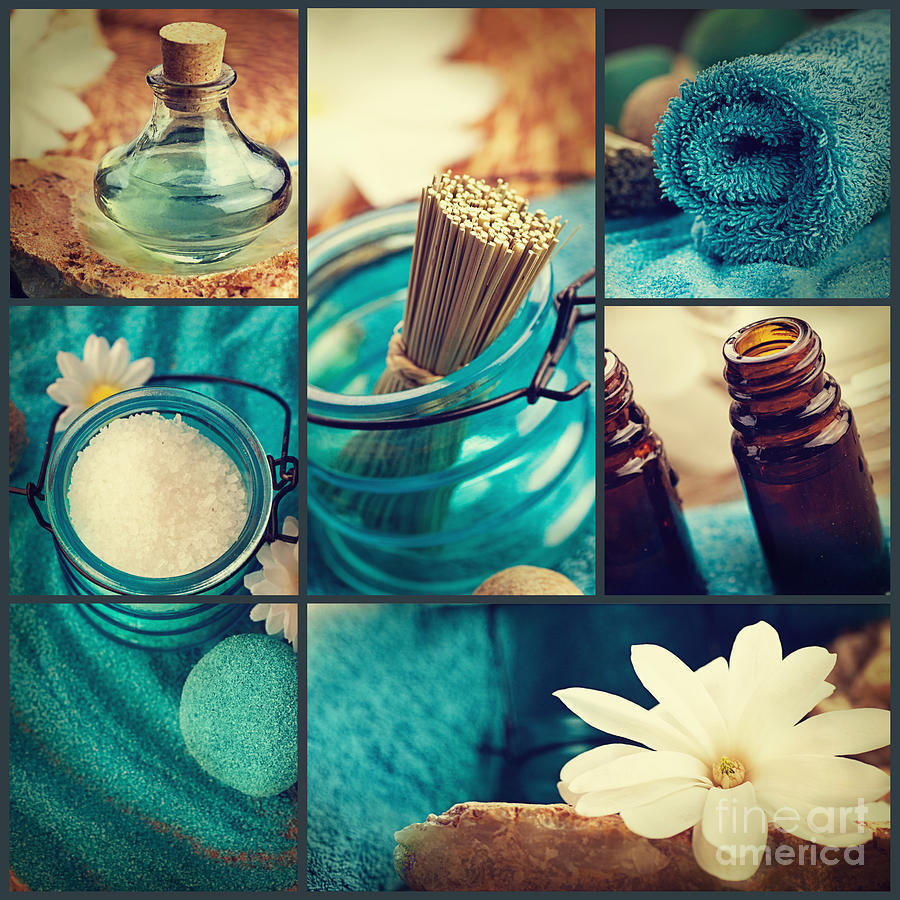 Spa Photograph - Spa Collage by Mythja  Photography