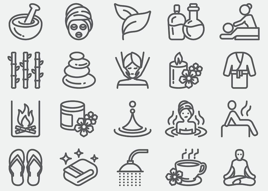 Spa Massage And Wellness Line Icons Photograph by LueratSatichob