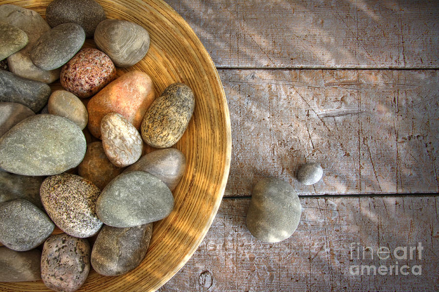 Arrangement Photograph - Spa Rocks In Wooden Bowl On Rustic Wood by Sandra Cunningham