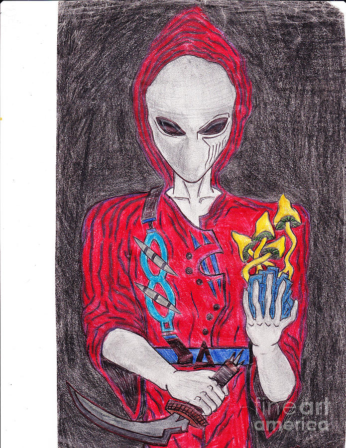 Alien Drawing - Space Brother by Sean Crisci