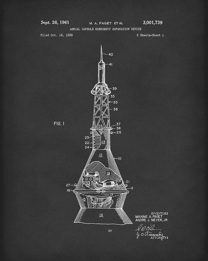 Space capsule 1961 patent art mercury black drawing by for Space art design