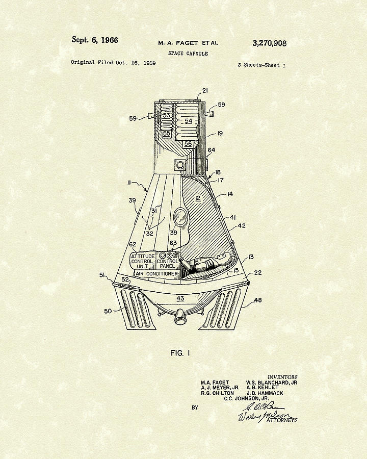 Space Capsule 1966 Patent Art Drawing By Prior Art Design