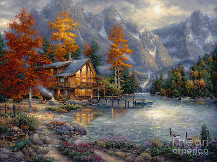 Mountain Cabin Painting - Space for Reflection by Chuck Pinson