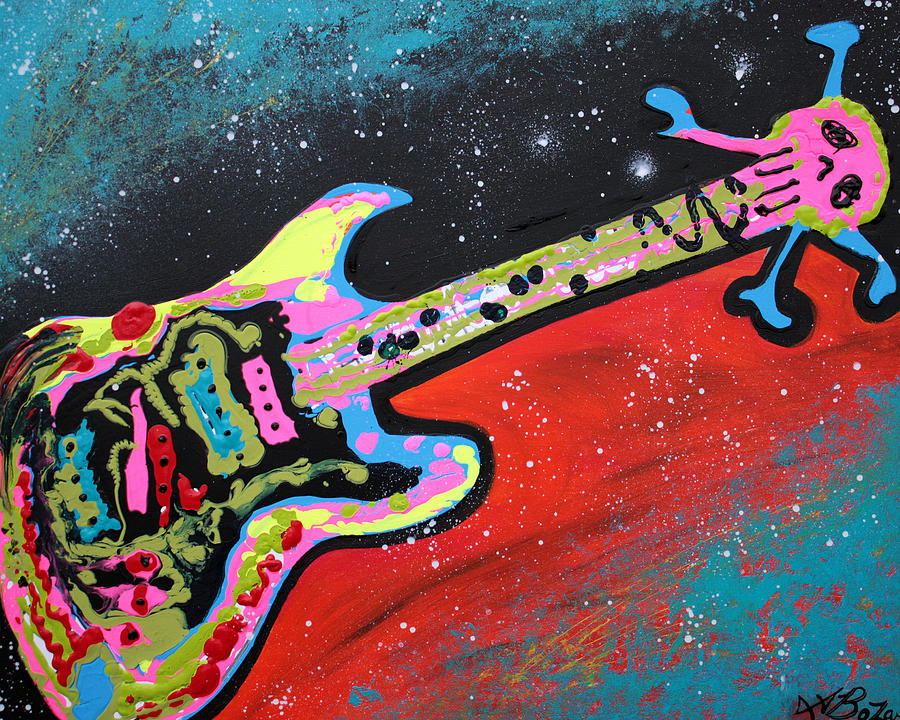 Acrylic Painting - Space Guitar by Laura Barbosa