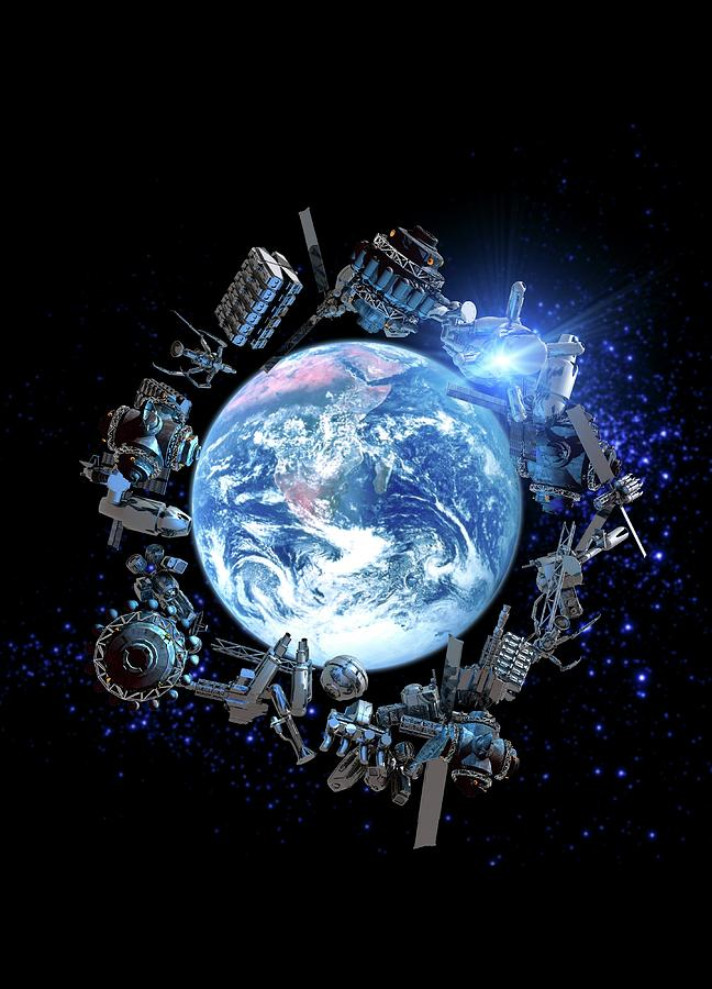 Space Junk, Conceptual Artwork Digital Art by Victor Habbick Visions