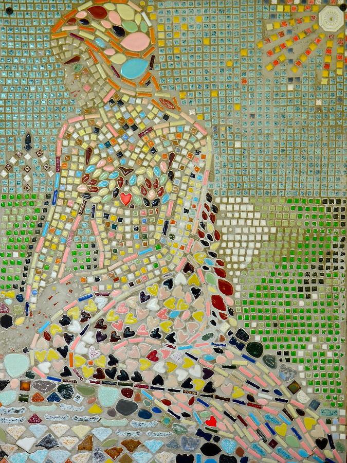 Mosaic Mixed Media - Space Mermaid by AnnaJo Vahle