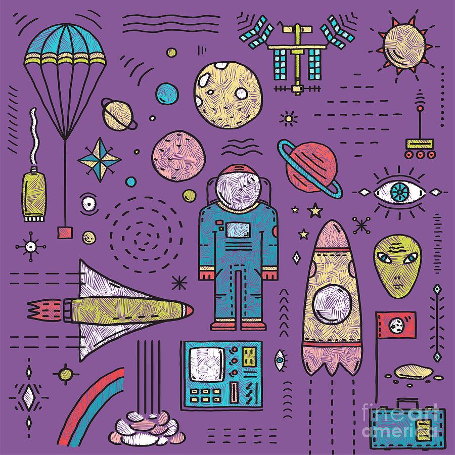 Sketchy Digital Art - Space Planets Stars Cosmonaut Design by Popmarleo