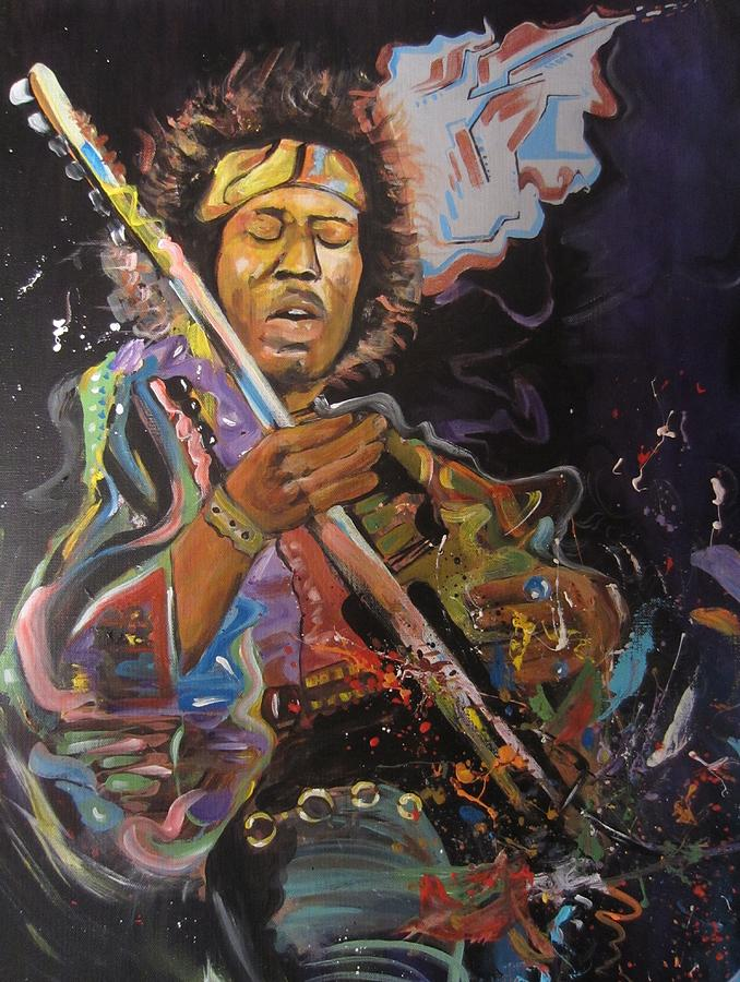 Jimi Hendrix Painting - Space Rocker. Erikfranco1.com by Erik Franco