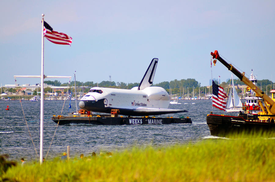Space Shuttle Enterprise Escorted Through Jamaica Bay by Maureen E Ritter
