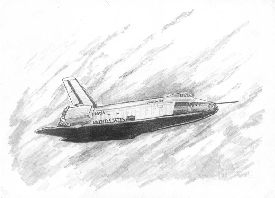 Space Drawing - Space Shuttle Enterprise by Michael Penny