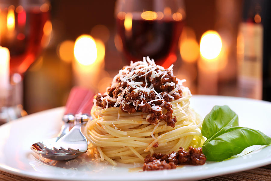 Spaghetti bolognese with parmesan cheese Photograph by Moncherie