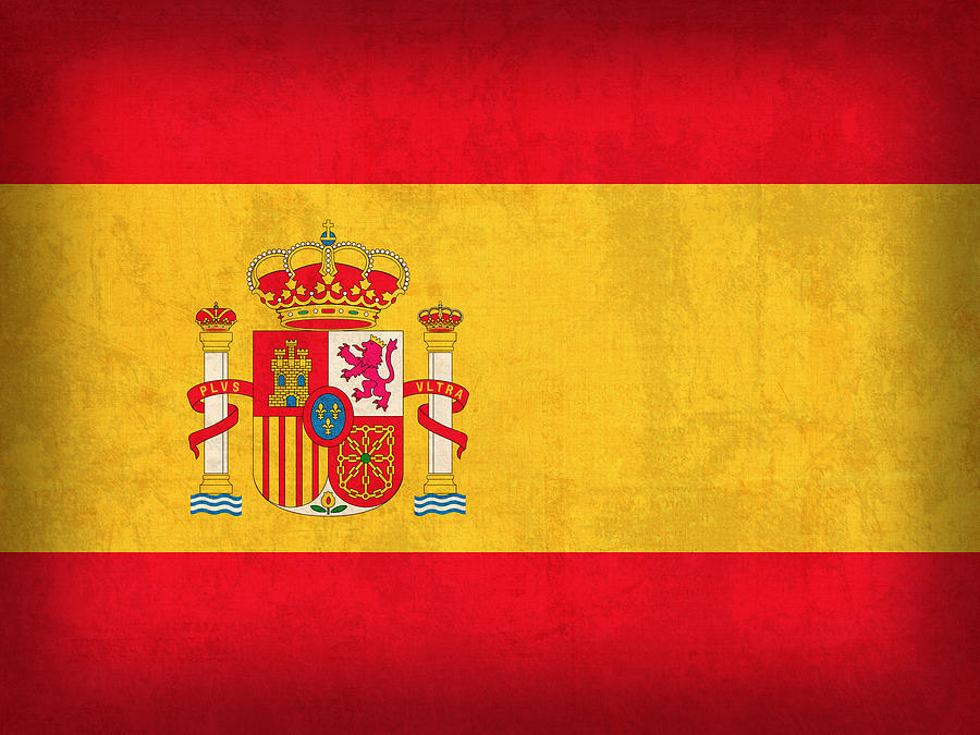 Spain Flag Vintage Distressed Finish Mixed Media by Design Turnpike