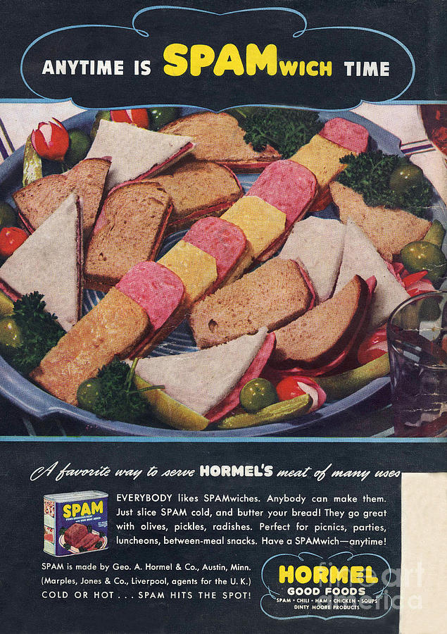 Adverts Drawing - Spam 1950s Usa Hormel Meat Tinned by The Advertising Archives