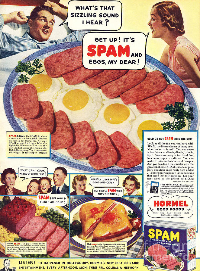 Adverts Drawing - Spam 1960s Usa Hormel Meat Tinned by The Advertising Archives