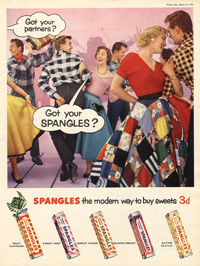 1950�s Drawing - Spangles 1956 1950s Uk Sweets Party by The Advertising Archives