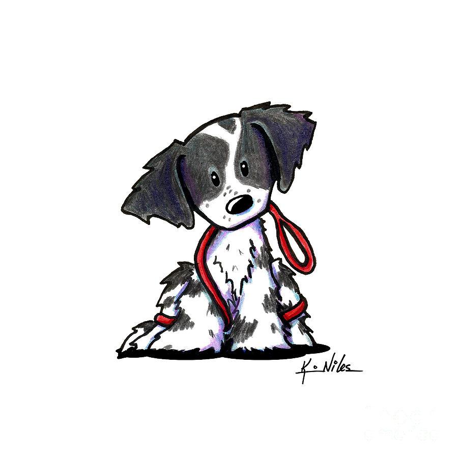 Brittany Spaniel Drawing - Spaniel Puppy With Leash by Kim Niles