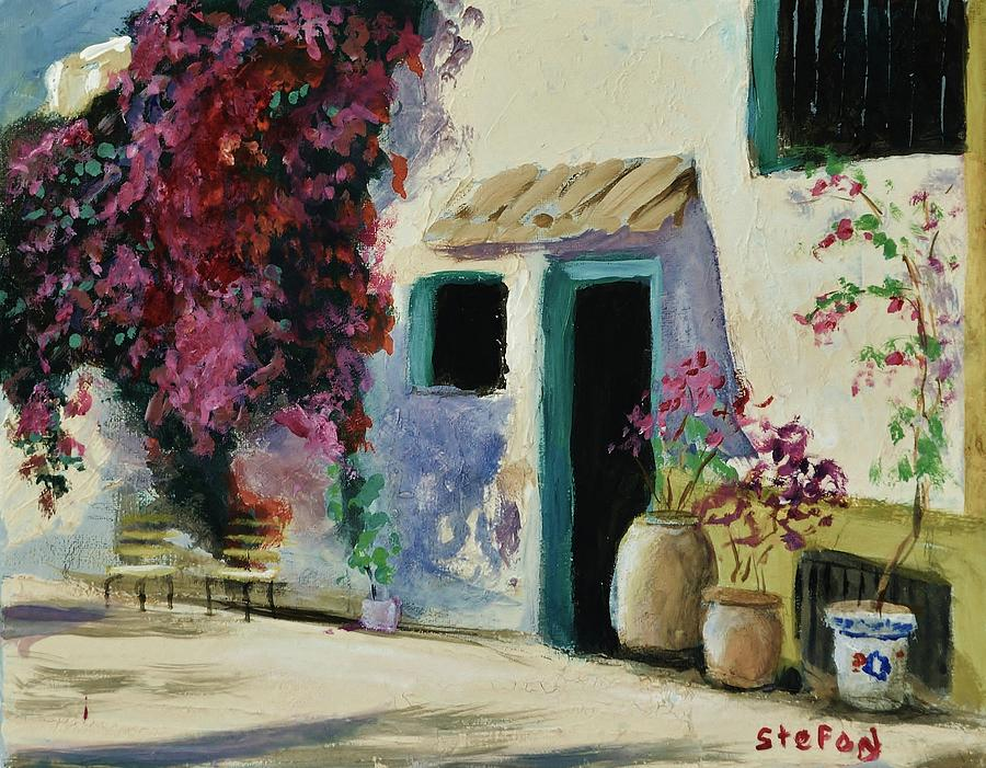 Flowers Painting - Spanish Courtyard by Stefon Marc Brown