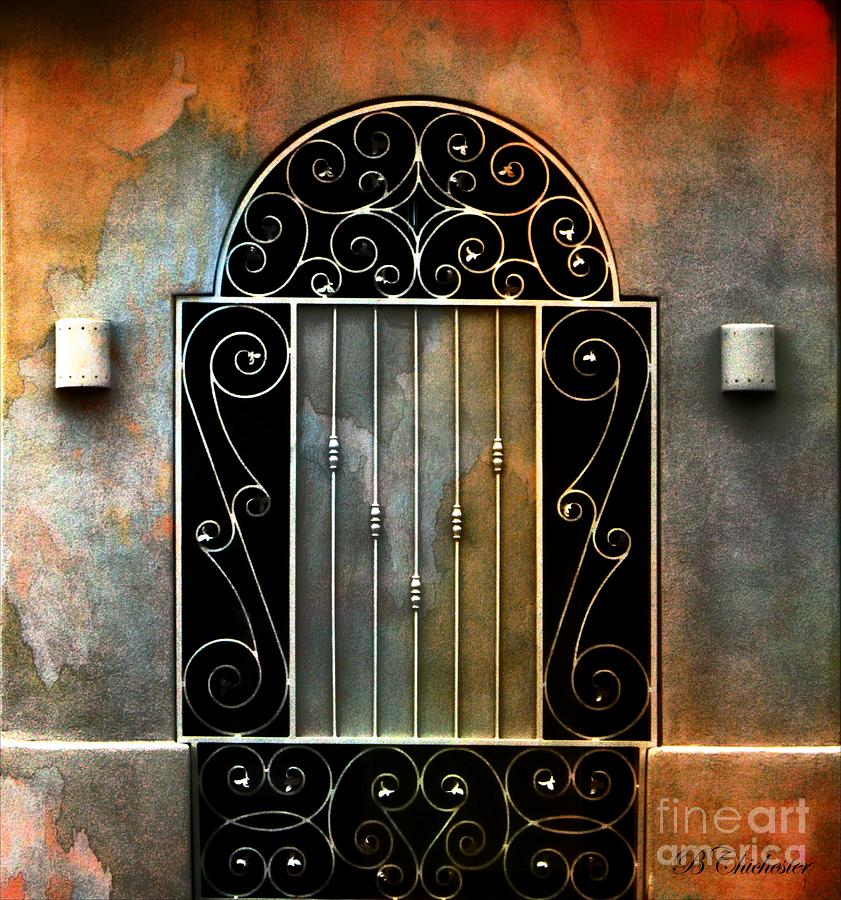 Gate Watercolor Photograph - Spanish Influence by Barbara Chichester