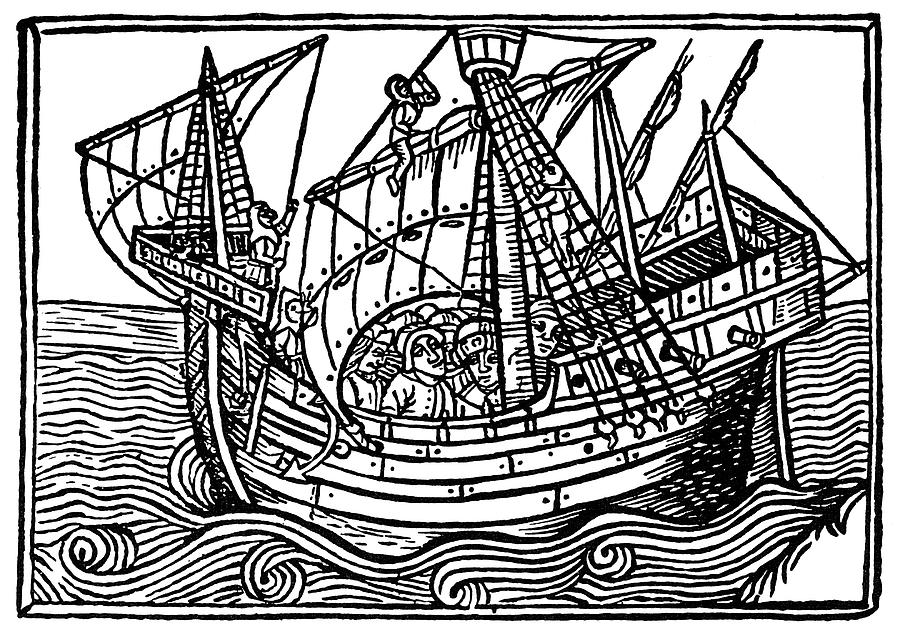 1496 Painting - Spanish Ship, 1496 by Granger