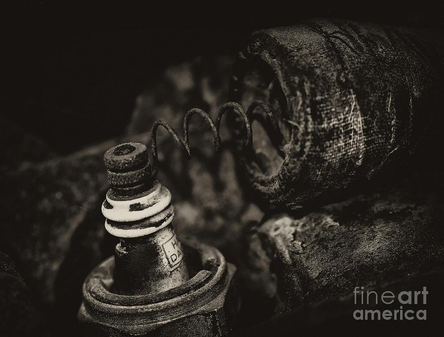 Macro Photograph - Spark Plug by Wilma  Birdwell