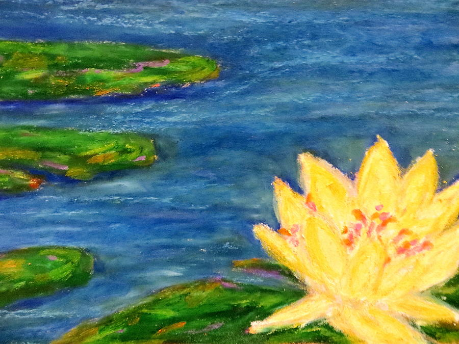 Aquatic Marsh Water Saltwater  Color Immpressionist Style Simple Colors Yellow Pink Red Green Lillies Oil Pastel  Pastel - Sparking Lillies by Daniel Dubinsky