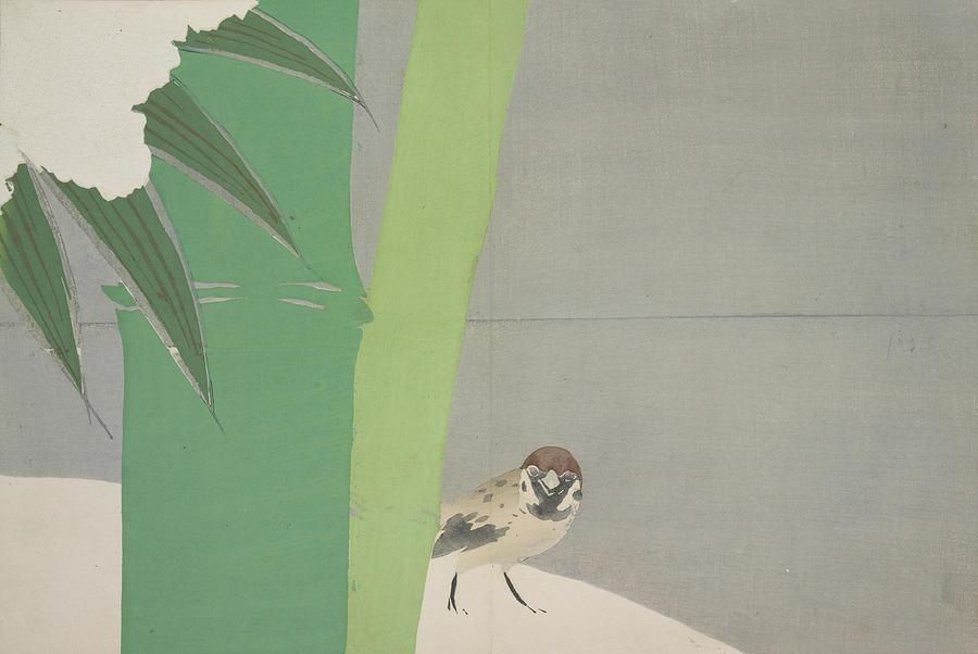 Dynamic Drawing - Sparrow And Bamboo., Kamisaka, Sekka, Artist by Artokoloro