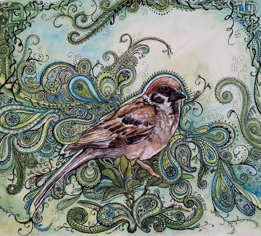 Sparrow Painting - Sparrow  by Cristy Dunn
