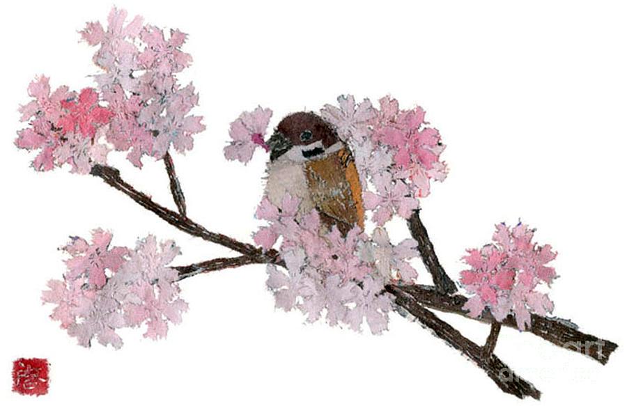 Bird Painting - Sparrow Art  by Keiko Suzuki