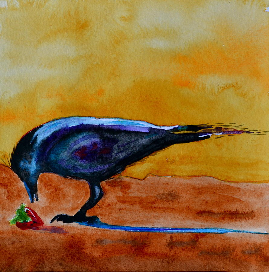 Crow Painting - Special Treat by Beverley Harper Tinsley