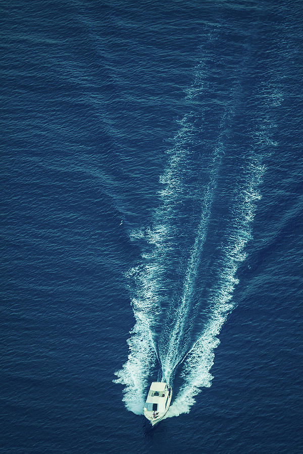 Speeding Boat Aerial View Photograph by Thepalmer