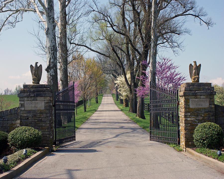Lexington Photograph - Spendthrift Farm Entrance by Roger Potts