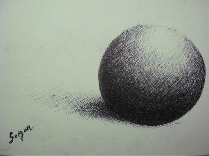 Black & White Drawing - Sphere  by SAIGON De Manila