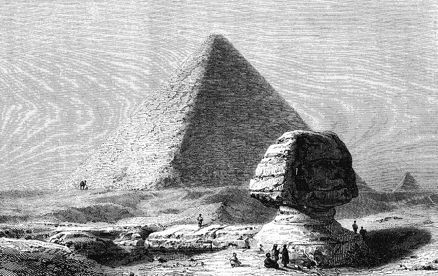 1800s Photograph - Sphinx And Pyramid Of Giza by Collection Abecasis/science Photo Library