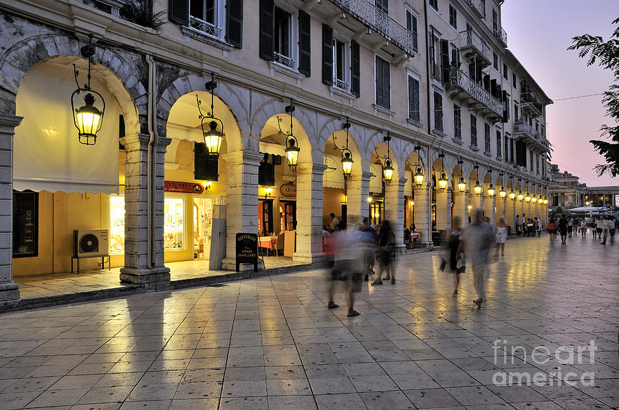 Greeting Cards Photograph - Spianada Square During Dusk Time by George Atsametakis