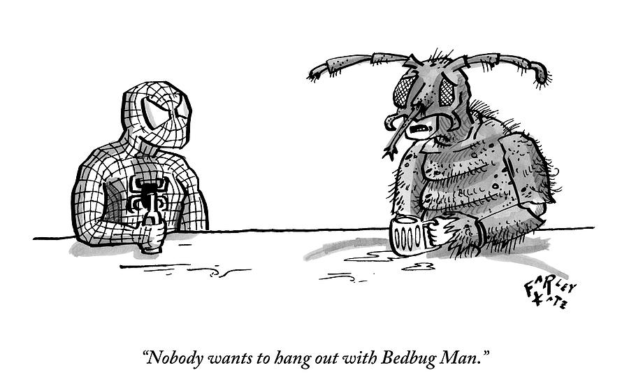 Spiderman And Bedbug Man Are Seen Speaking Drawing by Farley Katz