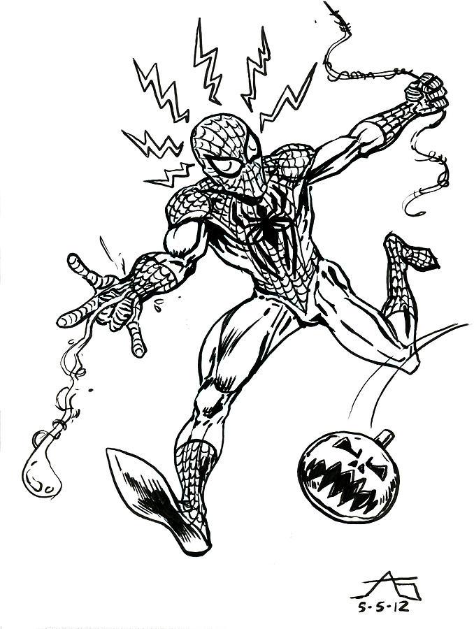 Spider-man Drawing - Spidey Dodges A Pumpkin Bomb by John Ashton Golden