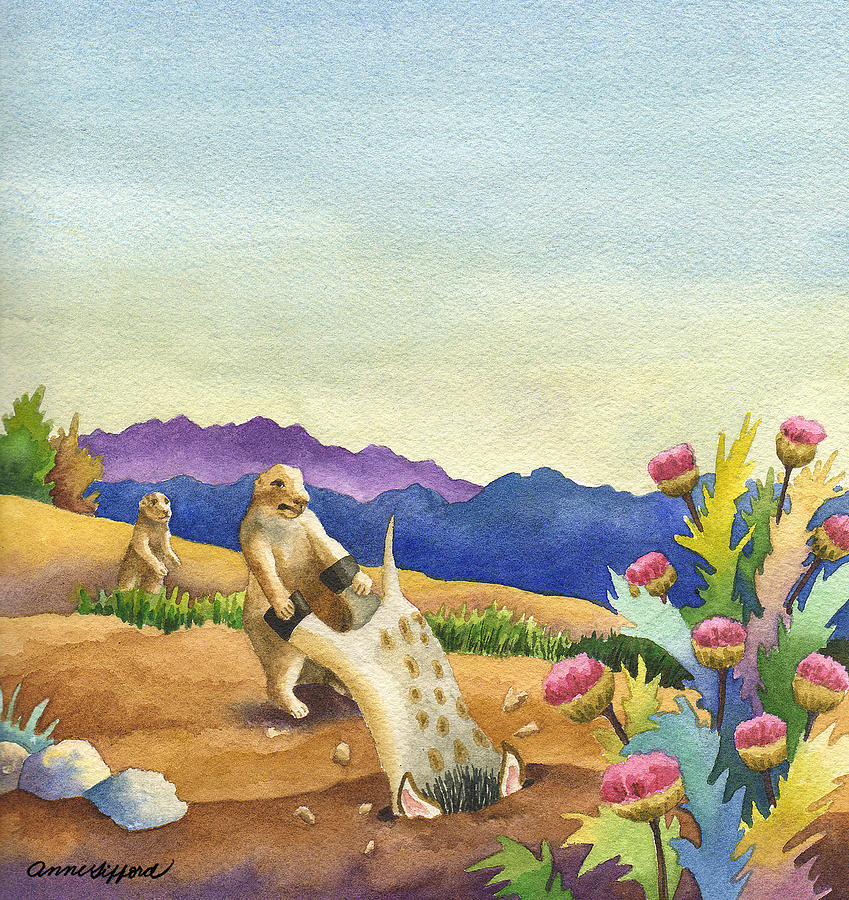 Animal Painting Painting - Spike Gets Stuck by Anne Gifford
