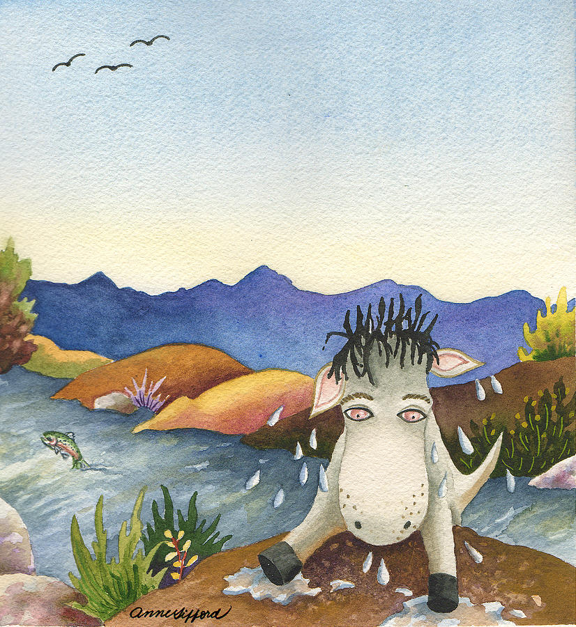 Animal Painting Painting - Spike Isnt Much Of A Swimmer by Anne Gifford