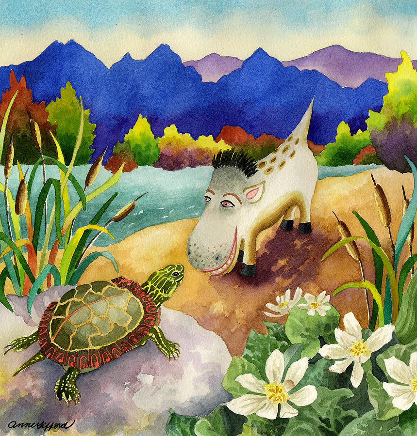 Animal Painting Painting - Spike The Dhog Comes Nose To Nose With A Painted Turtle by Anne Gifford