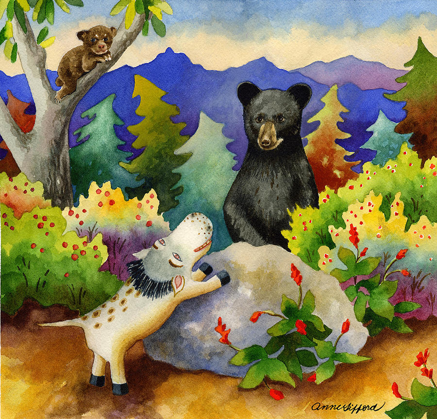 Children's Book Illustration Painting - Spike The Dhog Encounters A Mother Bear In The Forest by Anne Gifford