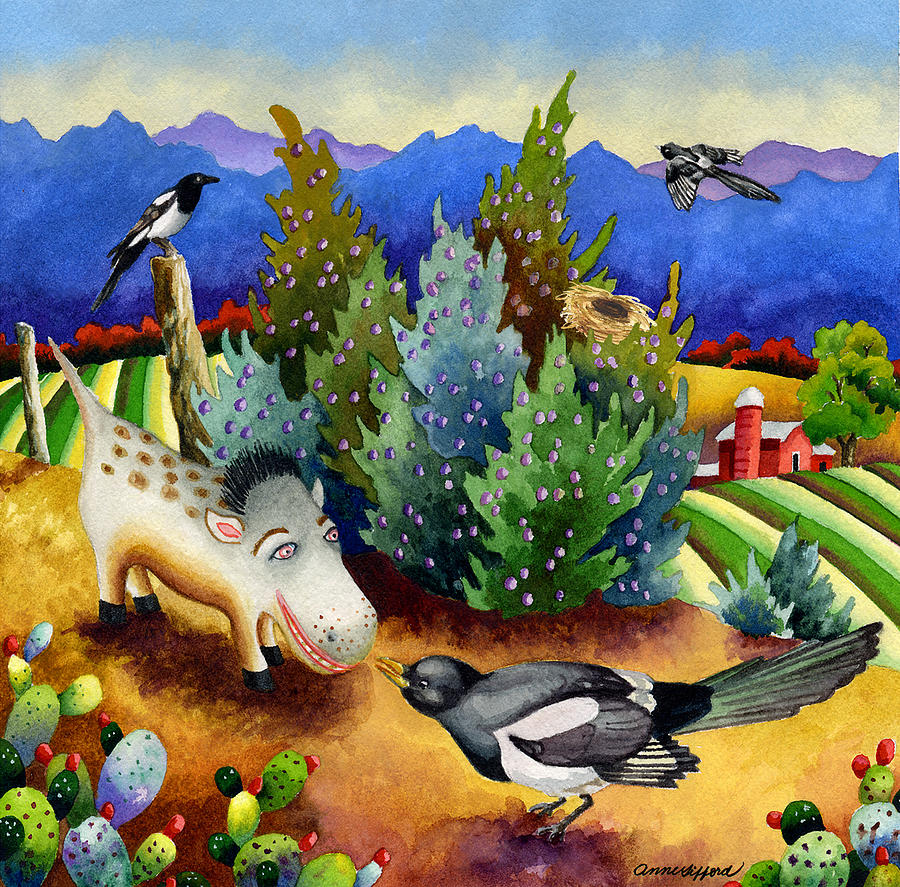 Animal Painting Painting - Spike The Dhog Meets A Magpie by Anne Gifford