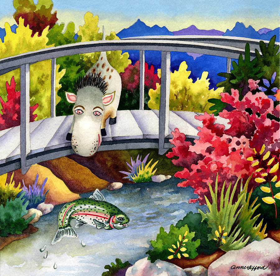 Animal Painting Painting - Spike The Dhog Watches A Jumping Trout by Anne Gifford