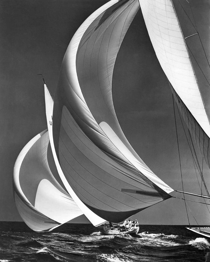 Black And White Photograph - Spinnakers On Racing Sailboats by Underwood Archives