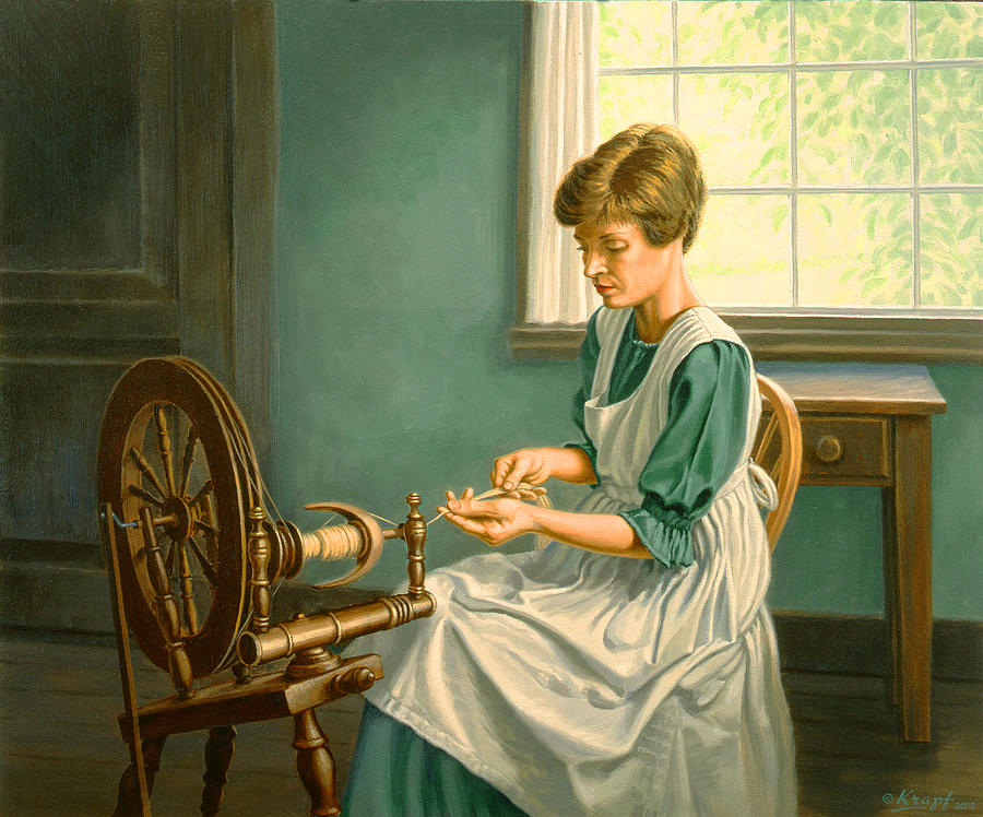 Spinning Wheel Painting - Spinning At The Homestead by Paul Krapf